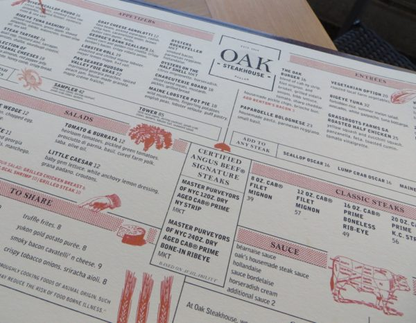 Avalon Oak Steakhouse Menu