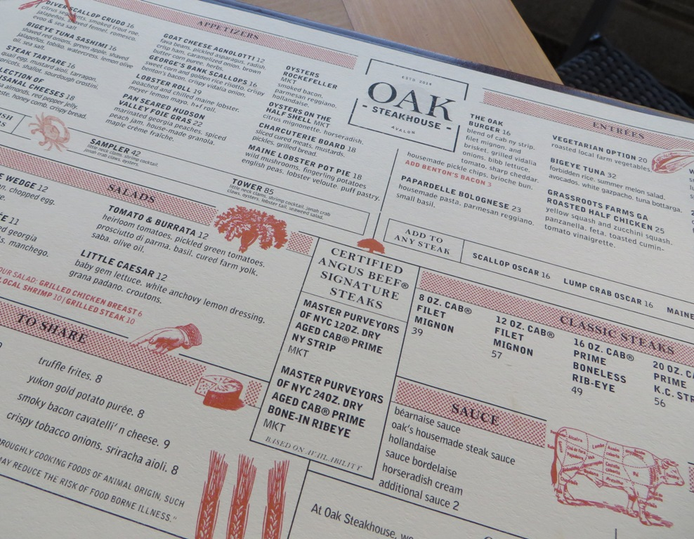 Oak Steakhouse Restaurant Week Menu